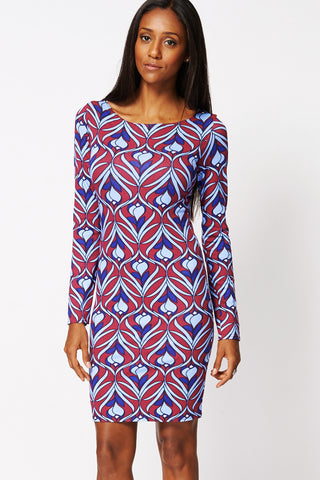 Fitted Long Sleeved Dress Ex Branded-Multi-UK 10 - EU 38