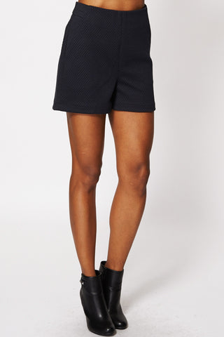 Chic Textured Side Zip Shorts-Black-12