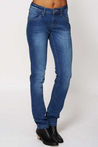 Blue Slightly Faded Skinny Jeans-Blue -16
