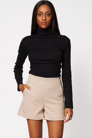 Black Roll Neck Jumper-Black-16