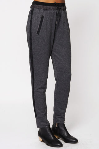 Black Lined Detail Track Pants-Black-Large - UK (12-14)
