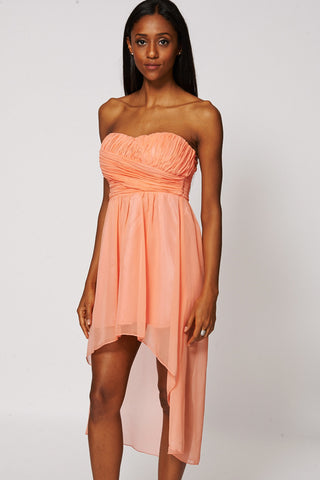 Coral Sweetheart Neckline Dipped Hem Chiffon Dress-Coral-Medium - UK (10-12)