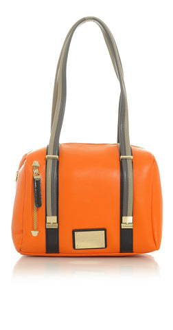 Orange Mini-Duffel Handbag with Taupe Tan and Black Accented Trim