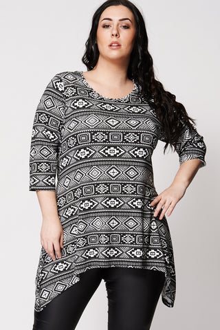Monochrome Ethnic Print Top-Black-20