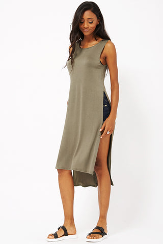 Vest Dress with Double Side Slit-Khaki-S/M - UK (10-12)