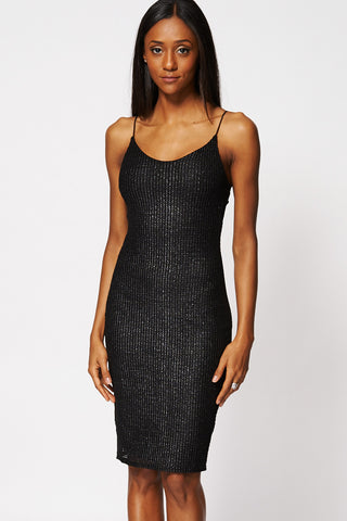 Silver Thread Cut Out Design Midi Bodycon Dress-Black-12