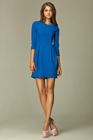 Blue Pleated Key Hole 3/4 Inch Sleeved Dress
