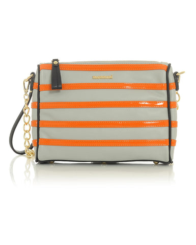 Gray & Orange Striped Clutched Handbag with Black and Gold Accented Trim