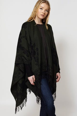 Floral Design Open Poncho Cape With Fringe-Grey-One Size