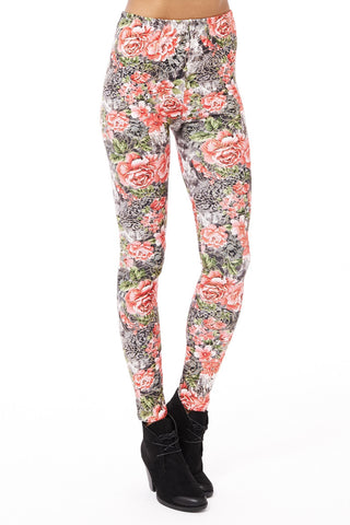 Floral Leggings with Gold Detail-Black-One Size - UK (8-14)