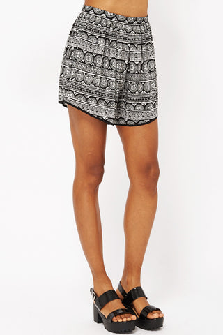 Aztec Print Shorts-Black-UK 10 - EU 38