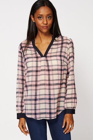 Checked Open Front Mandarin Collar Blouse-Pink-UK 14 - EU 42