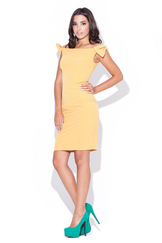 Mustard Yellow Above Knee Bow Sleeve Body Con Dress