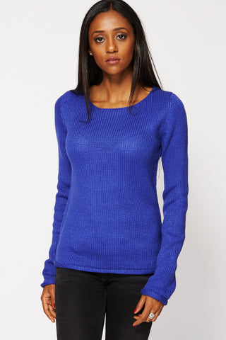 Blue Knit Pullover Sweater-Blue-UK 20/22 - EU 48/50