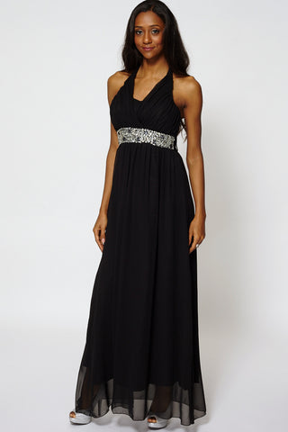 Deep V-Neckline Glass Beads High Waist Evening Dress-Black-M
