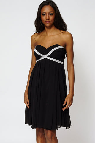 Draped Embellished Top Strapless Pleated Swing Dress-Black-M