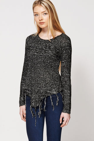 Asymmetric Fringe Hemline Knitted Sweater Ex-Branded-Black-XL