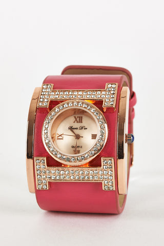 Diamante Embellished Cuff Watch-Fuchsia