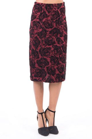 Floral Pattern Midi Skirt-Burgundy-UK 12 - EU 40