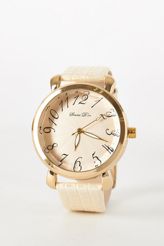 Bevelled Glass Edged Watch  -Cream