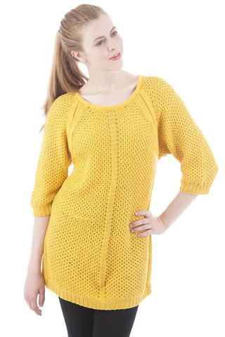 3/4 Sleeve Long Knitted Jumper-Yellow-Large - UK (12-14)