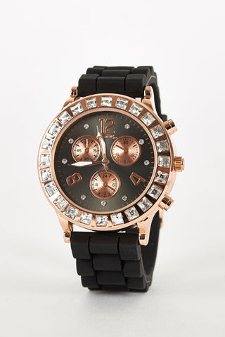 Glass Beads Detail Silicon Strap Boyfriend Style Watch-Black