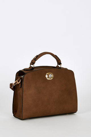 Textured Leatherette Small Satchel Bag In Brown-Brown