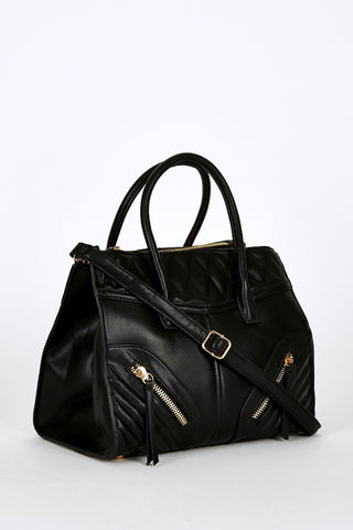 Zip Detail Quilted Panel Leatherette Handbag In Black