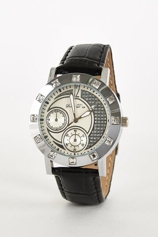 Diamante Moon Design Watch-Black/White