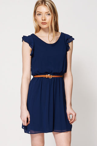 Navy Ruffle Sleeve Belted Dress Ex-Branded-Navy-XXL