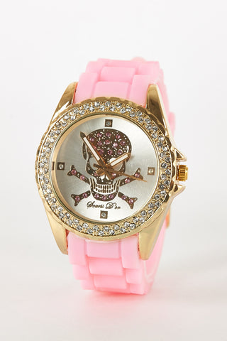 Diamante Skull Detail Silicon Strap Watch -Pink