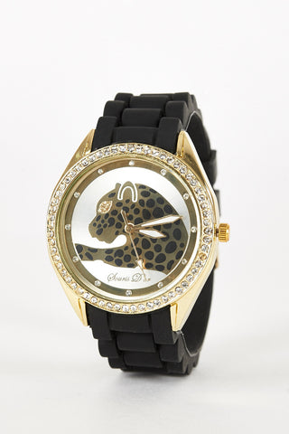 Leopard Design Silicone Strap Watch-Brown