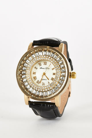 Diamante And Glass Bead Detail Leatherette Strap Watch-Fuchsia
