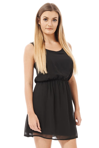 Black Chiffon Sleeveless -Black-UK 12 - EU 40