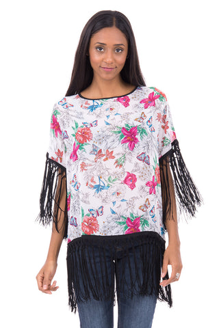 Chiffon Batwing Top With Tassel AVAILABLE IN PLUS SIZES-White -UK 12 - EU 40