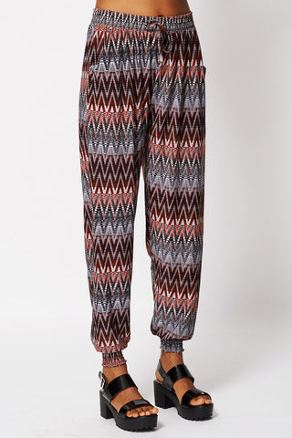 Zig Zag Print Red Harem Trousers -Red-XL/XXL - UK (12-14)