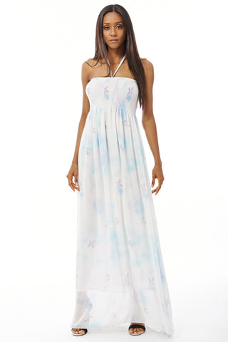 Chiffon Maxi Dress With Elasticated Bust-Sky Blue-M/L - UK (12-14)