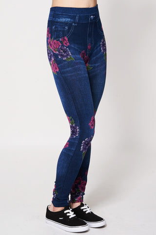 Floral Print Leggings -Blue -One Size
