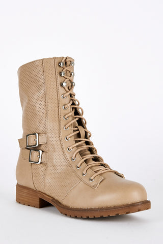 Taupe Lace Up Mid Calf Combat Boots-Taupe-UK 8 - EU 41