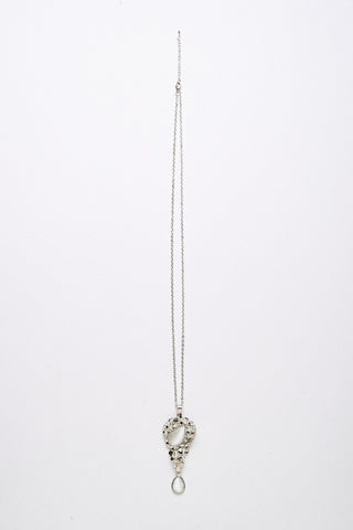 Cheetah White Stone Pendant Necklace-Silver