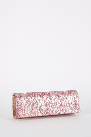 Sequin and Thread Design Clutch Bag-Black