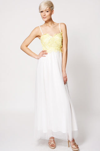 Yellow Crochet Top Shoulder Strap Tulle Evening Dress-White -L