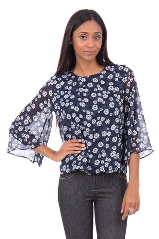 Navy Blouse With Flower Design AVAILABLE IN PLUS SIZES -Navy-UK 6 - EU 34