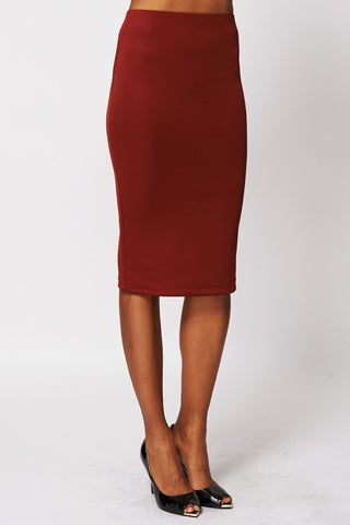 Burgundy Scuba Midi Skirt-Burgundy-UK 10 - EU 38