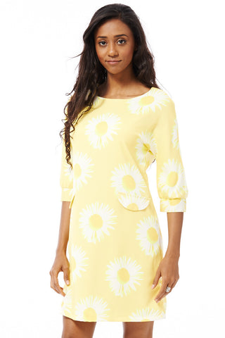Yellow SunFlower Tunic Dress-Yellow-UK 12 - EU 40