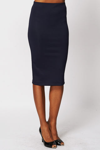Navy Scuba Midi Skirt-Navy-UK 10 - EU 38