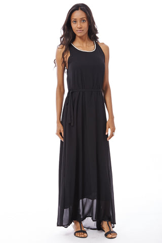 Grecian Style Chiffon Maxi Dress-Black-M/L - UK (14-16)