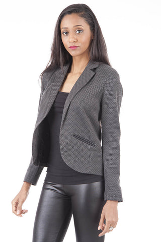 Patterned Fully Lined Blazer AVAILABLE IN PLUS SIZES Ex Branded-Charcoal-UK 6 - EU 34