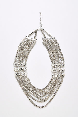 Layered Chain Necklace with Faux Jewels-Silver