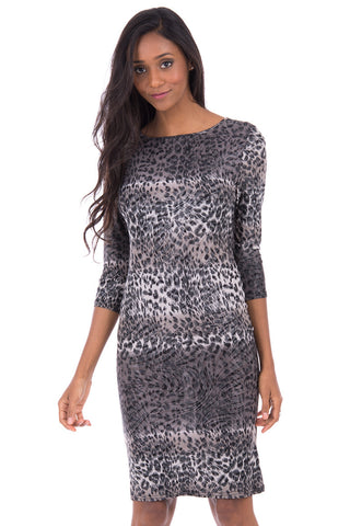 Grey Leopard Print Bodycon Dress-Grey-UK 14 - EU 42